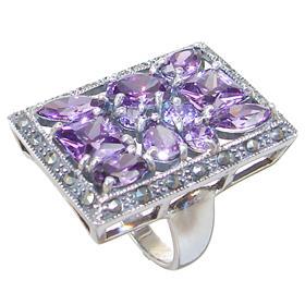 Large Purple Quartz Sterling Silver Ring size L