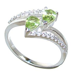 Fancy Peridot Sterling Silver Ring size P 1/2