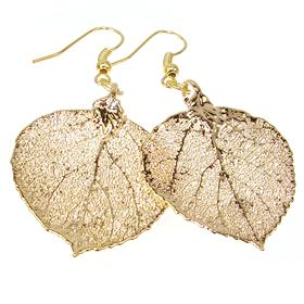 Large Unique Real Leaf Dipped in 24k Gold Earrings