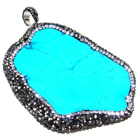 Large Turquoise And Crystal Fashion Pendant