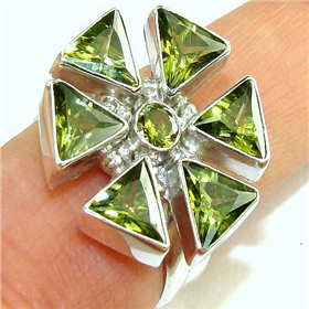 Stunning Cubic Zirconia Sterling  Silver Ring.Silver Gemstone Ring.