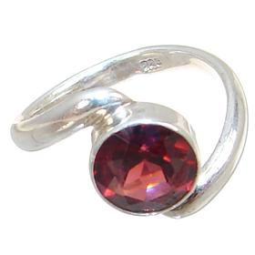 Royal Garnet Sterling Silver Ring Size M 1/2