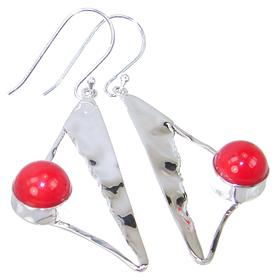 Designer Red Coral Sterling Silver Earrings