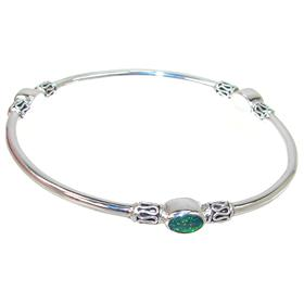 Designer Created Fire Opal Sterling Silver Bangle