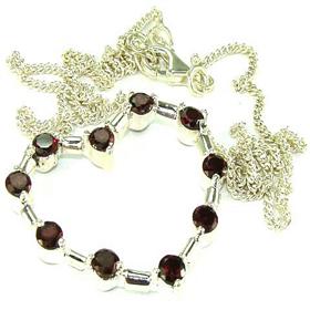 Genuine Garnet Sterling Silver Necklace