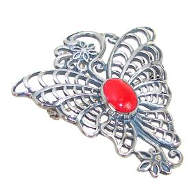 Red Coral Sterling Silver Pendant Brooch