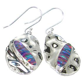 Designer Created Sparkle Opal Sterling Silver Earrings