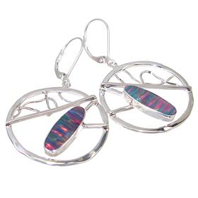 Designer Created Sparkle Opal Sterling Silver Earrings