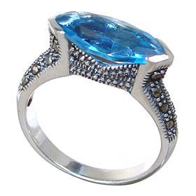 Sky Blue Quartz Sterling Silver Ring size P