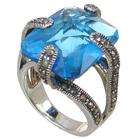 Sky Blue Quartz Sterling Silver Ring size N