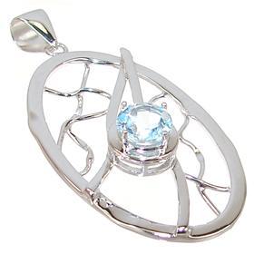 Designer Blue Topaz Frog Sterling Silver Pendant