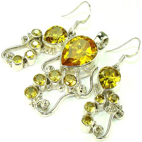 Incredible Cubic Zirconia Sterling Silver Set Jewellery