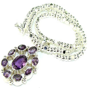 Amethyst Sterling Silver Necklace.Silver Gemstone Necklace.
