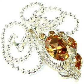 Incredible Cubic Zirconia Sterling Silver Necklace 16 inches long