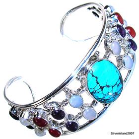 Stunning Multigem Sterling Silver Bangle Bracelet Jewellery