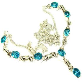 Blue Topaz Sterling Silver Necklace Jewellery