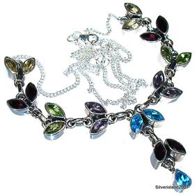 Citrine, Peridot, Garnet, Amethyst, Topaz Sterling Silver Necklace