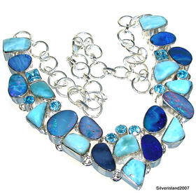 Fire Opal, Larimar Sterling Silver Necklace