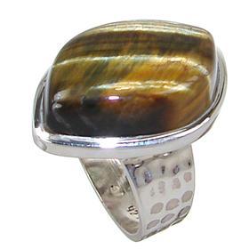 Tiger Eye Sterling Silver Ring size O 1/2