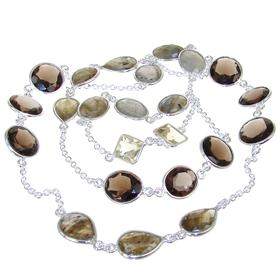 Charming Smoky Quartz Sterling Silver Necklace 27 inches long