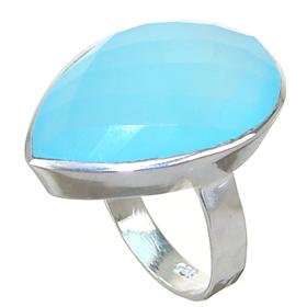 Chalcedony Agate Sterling Silver Ring size P