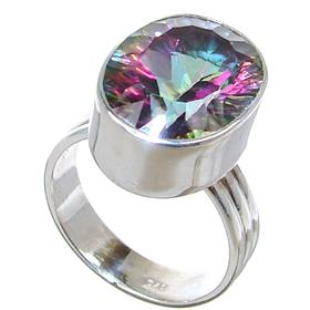 Mystic Quartz Sterling Silver Ring size P 1/2