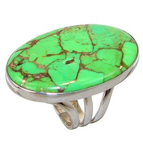 Large Green Turquoise Sterling Silver Ring size P 1/2