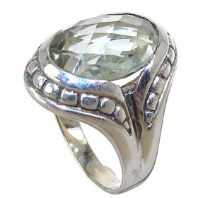 Green Amethyst Sterling Silver Ring size N