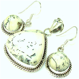 Dendric Agate Sterling Silver Set Jewellery