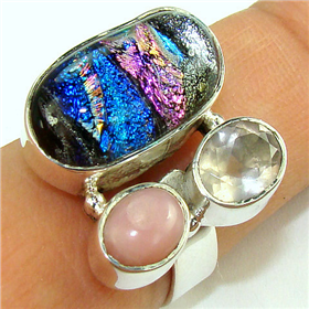 Dichroic Glass  925 Silver Ring