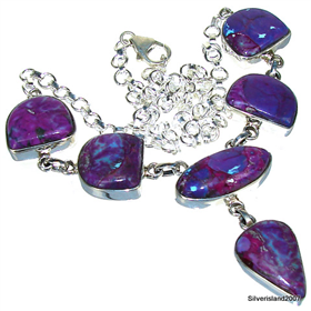 Purple Turquoise  925 Silver Necklace