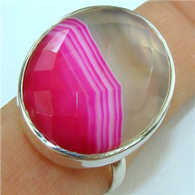 Large Botswana Agate Sterling Silver Ring size V 1/2