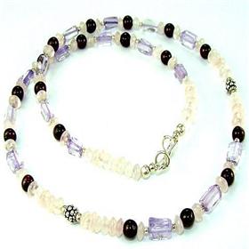 Amethyst  Rose Quartz  925 Silver Necklace