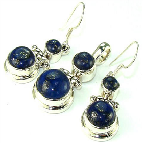 Incredible Lapis Lazuli Sterling Silver Set Jewellery
