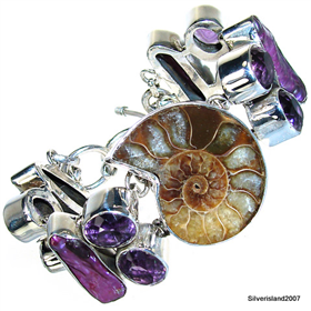 Exclusive Ammonite Fossil Sterling Silver Bracelet Jewellery