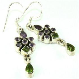 Amethyst, Peridot Sterling Silver Earrings
