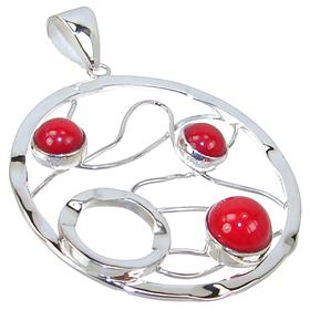 Large Red Coral Sterling Silver Pendant