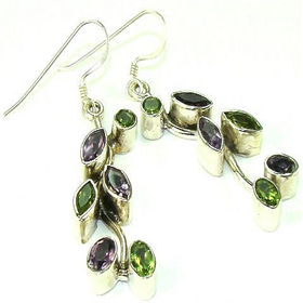 Amethyst, Peridot  925 Silver Earrings