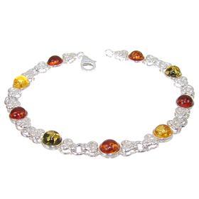 Celtic Amber Sterling Silver Bracelet