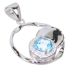 Gallant Blue Topaz Sterling Silver Pendant