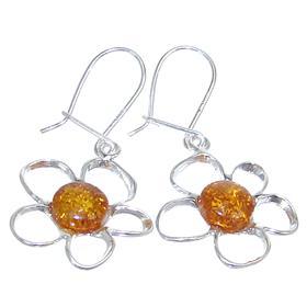 Fancy Baltic Amber Sterling Silver Earrings
