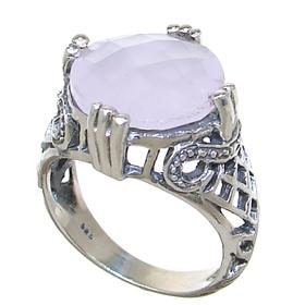Rose Quartz Sterling Silver Ring size N 1/2