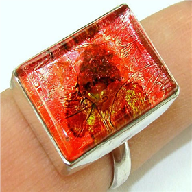 Dichroic Glass Sterling Silver Ring size R 1/2
