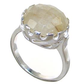 Golden Rutile Quartz Sterling Silver Ring size R