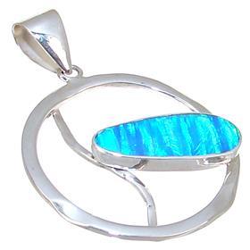 Designer Created Fire Opal Sterling Silver Pendant
