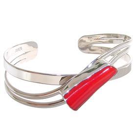 Designer Red Coral Sterling Silver Bracelet