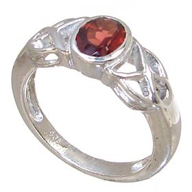 Royal Garnet Sterling Silver Ring Size O