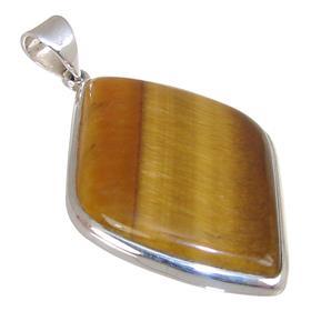 Large Tiger Eye Sterling Silver Pendant