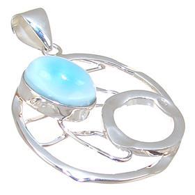 Designer Larimar Sterling Silver Pendant