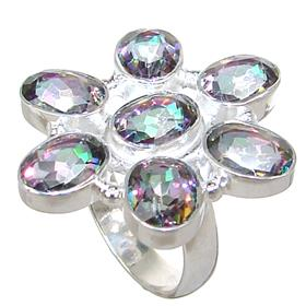 Mystic Quartz Sterling Silver Ring size M 1/2